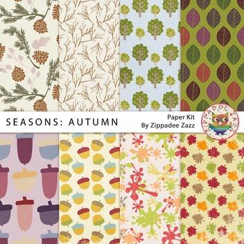 Digital Paper - Seasons: Fall / Autumn - 8 papers