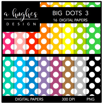Digital Paper Set: Big Dots 3 {Graphics for Commercial Use}