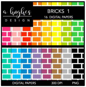 Digital Paper Set: Bricks 1 {Graphics for Commercial Use}