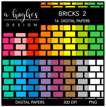 Digital Paper Set: Bricks 2 {Graphics for Commercial Use}