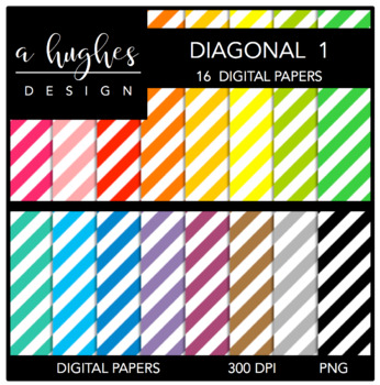 12x12 Digital Paper Set: Diagonal Stripes 1 {A Hughes Design}
