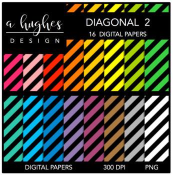 12x12 Digital Paper Set: Diagonal Stripes 2 {A Hughes Design}