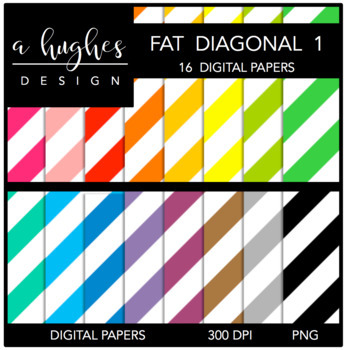 12x12 Digital Paper Set: Fat Diagonal Stripes 1 {A Hughes Design}