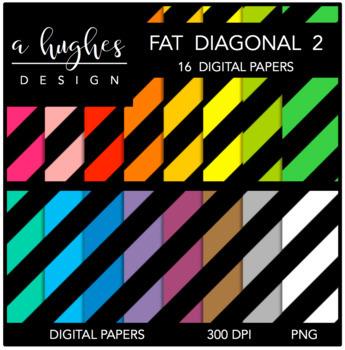 12x12 Digital Paper Set: Fat Diagonal Stripes 2 {A Hughes Design}