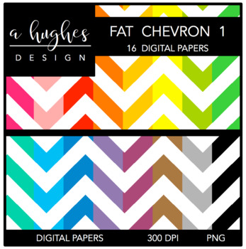 12x12 Digital Paper Set: Fat Chevron 1 {A Hughes Design}