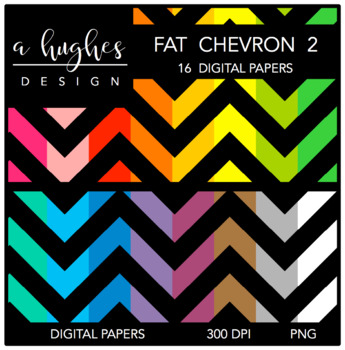 Digital Paper Set: Fat Chevron 2 {Graphics for Commercial Use}