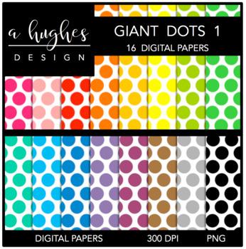 12x12 Digital Paper Set: Giant Dots 1 {A Hughes Design}