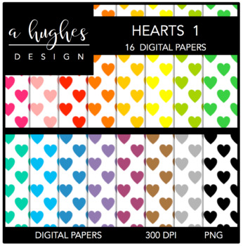 Digital Paper Set: Hearts 1 {Graphics for Commercial Use}