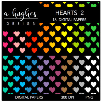 Digital Paper Set: Hearts 2 {Graphics for Commercial Use}