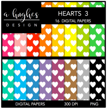 Digital Paper Set: Hearts 3 {Graphics for Commercial Use}