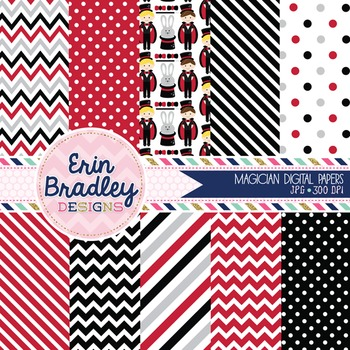 Digital Paper Set - Magicians Background Patterns in Red Gray & Black