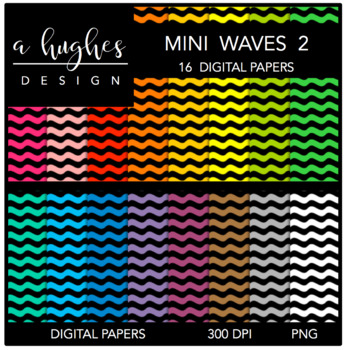 Digital Paper Set: Mini Waves 2 {Graphics for Commercial Use}