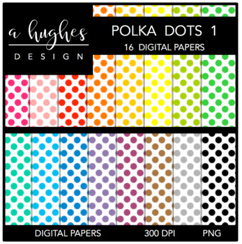 12x12 Digital Paper Set: Polka Dots 1 {A Hughes Design}