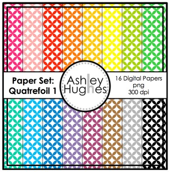Digital Paper Set: Quatrefoil 1 {Graphics for Commercial Use}