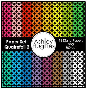 12x12 Digital Paper Set: Quatrefoil 2 {A Hughes Design}