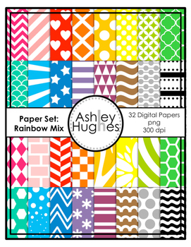 12x12 Digital Paper Set: Rainbow Mix {A Hughes Design}