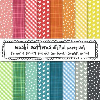 Digital Paper Set, Rainbow Patterns Printables, Chevron, Hearts, Polka Dots