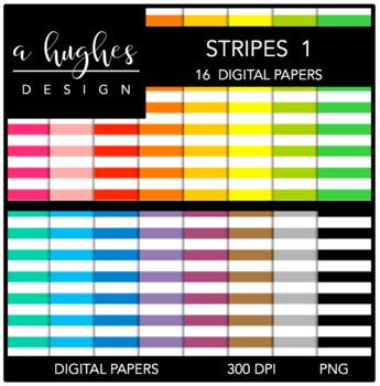 12x12 Digital Paper Set: Stripes 1 {A Hughes Design}