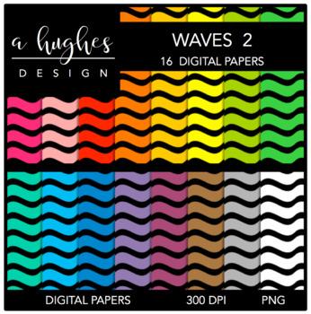 12x12 Digital Paper Set: Waves 2 {A Hughes Design}