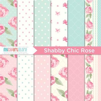 Digital Paper - Shabby Chic Rose