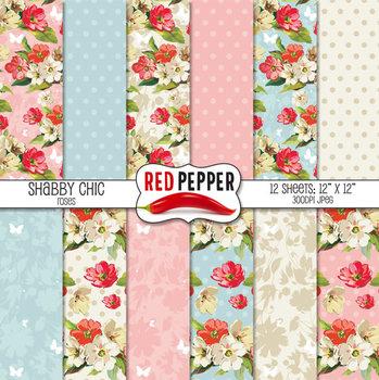 Digital Paper / Patterns - Shabby Chic Roses