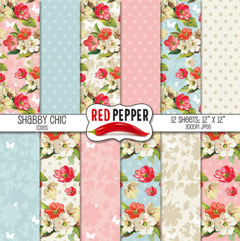 Digital Paper / Patterns - Shabby Chic Roses