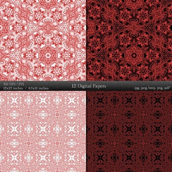 Digital Paper Sheet Fabric Textile Set Page Piecing Pattern Clipart Kit Abstract