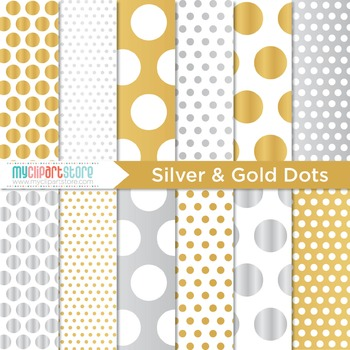 Digital Paper - Silver and Gold (foil) Polka Dots