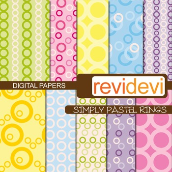 Digital Paper Simply Pastel Ring (patterned background)