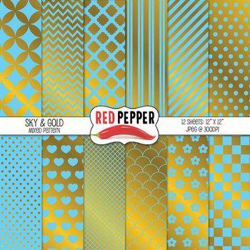 Digital Paper / Patterns - Sky & Gold