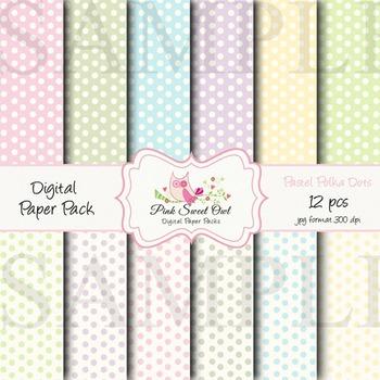 Digital Paper - Small pastel polka dot paper background