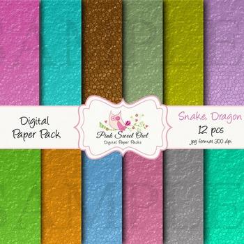 Digital Paper - Snake dragon digital paper and background
