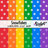 Digital Paper ~ Snowflakes ~ Bold Primary Colors