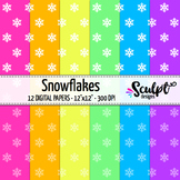 Digital Paper ~ Snowflakes ~ Neon Colors