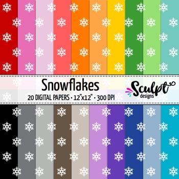 Digital Paper ~ Snowflakes ~ Twenty Colors