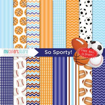 Digital Paper - So Sporty! / FREE sports balls