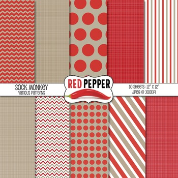 Digital Paper - Sock Monkey