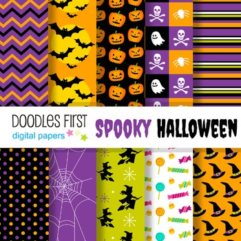 digital paper spooky halloween great for classroom art projects