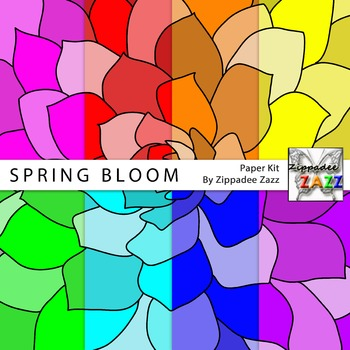 Spring Bloom Flower Digital Paper or Backgrounds