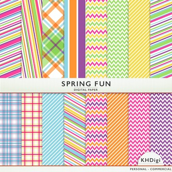 "Digital Paper - ""Spring Fun ""  Blue Green Pink Orange Yellow Purple"