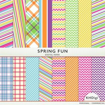 """Digital Paper - """"Spring Fun """"  Blue Green Pink Orange Yell"""