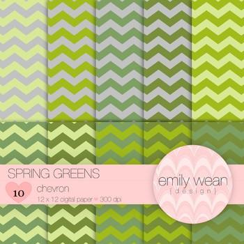 Spring Greens - Digital Paper - Chevron