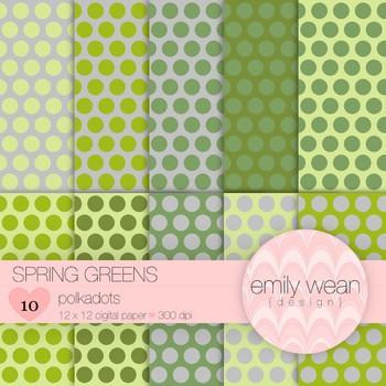 Spring Greens - Digital Paper - Polkadots