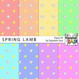 Spring Lamb Easter Digital Paper or Backgrounds