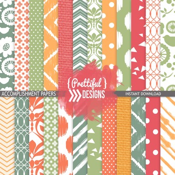 Digital Paper Spring Summer Colors Ikat Chevron Background