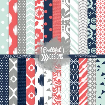 Digital Paper Coral Navy Gray Ikat Chevron Background - Accomplishment