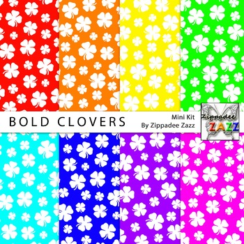 St Patrick Bold Clovers Digital Paper or Backgrounds