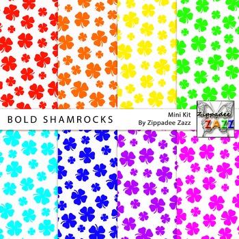 St Patrick Bold Shamrocks Digital Paper or Backgrounds