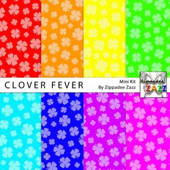 St Patrick Clover Fever Digital Paper or Backgrounds