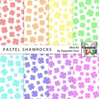 St Patrick Pastel Shamrocks Digital Paper or Backgrounds